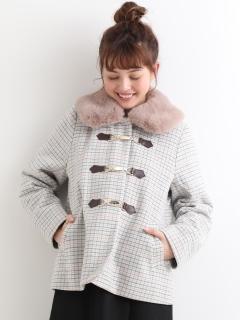 ファー襟ビット付コート