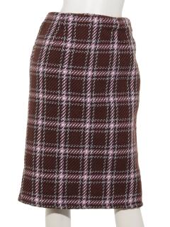 ツイード風チェックロングタイトスカート