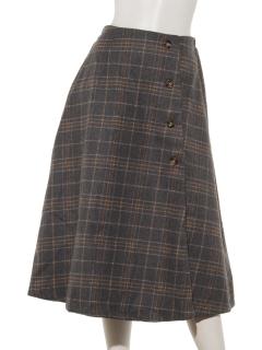 チェックラップ風フレアスカート
