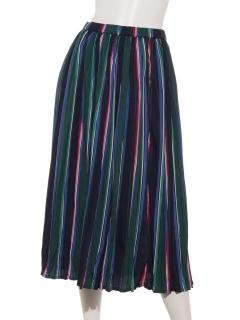 ストライプ柄レトロプリーツスカート