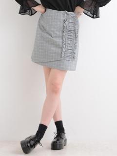 チェックフリル台形ミニスカート