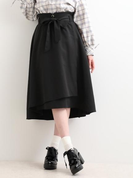 MAJESTIC LEGON (マジェスティックレゴン) ヘムラインラップスカート ブラック