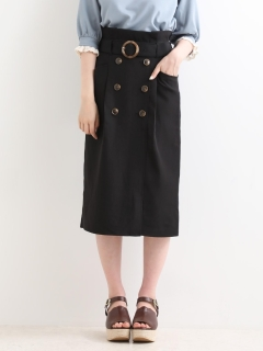 トレンチ風ロングIラインスカート