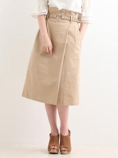 ベルト付ラップIラインスカート