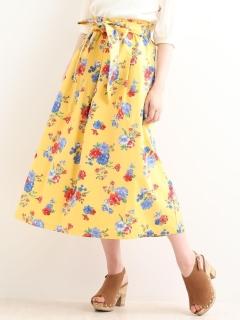 大花柄ロングスカート