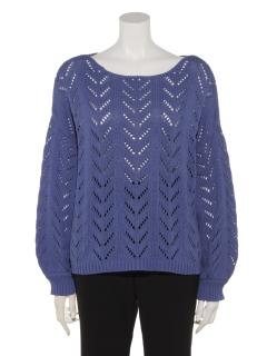 透かし編みボリューム袖プルオーバー