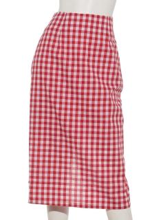 ギンガムロングタイトスカート