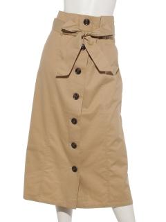 フロント釦ロングタイトスカート