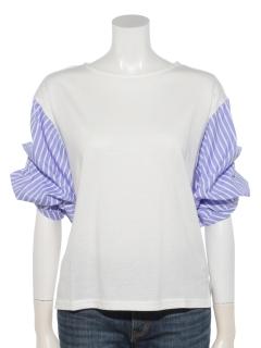 異素材タックバルーン袖プルオーバー