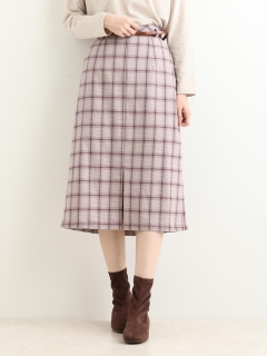 ベルト付チェックIラインスカート