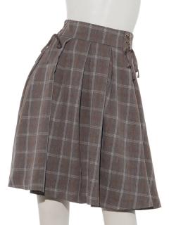 Wレースアップ裾シフォンフレアースカート