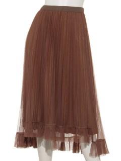 チュール裾プリーツスカート