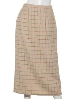 フェイクウールチェック柄ロングタイトスカート