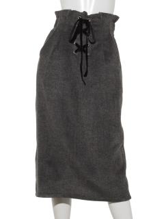 起毛ヘリンボン編上げタイトスカート