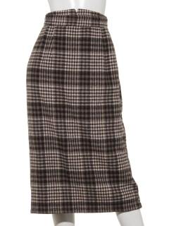 起毛チェックロングタイトスカート