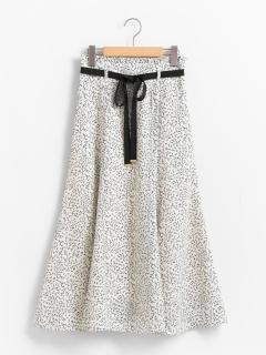 リボン付ロングフレアースカート