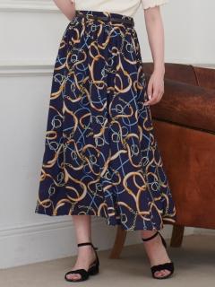 ベルト付スカーフ柄ロングスカート