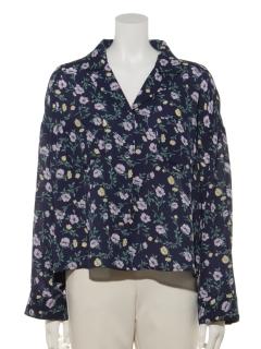 花柄開襟長袖シャツ