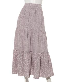 花柄切替ティアードスカート