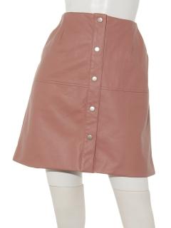 フェイクレザーフロント釦台形ミニスカート
