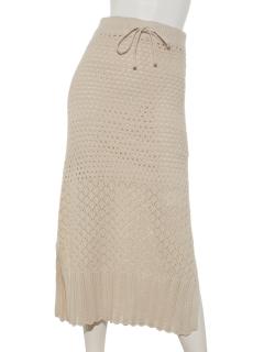 透かし編みニットタイトスカート