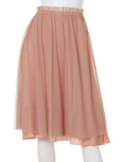 チュール付2wayサテンフレアースカート