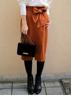 ウエストリボンフロントスリットタイトスカート