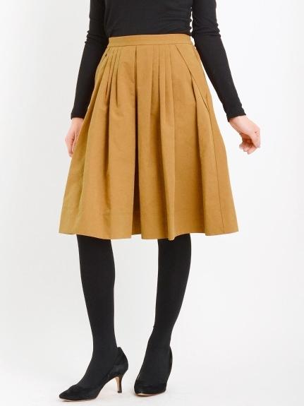 Perle Peche (ペルルペッシュ) フロントタックフレアースカート キャメル