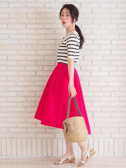 Perle Peche (ペルルペッシュ) イレギュラーヘムコットンギャザースカート ピンク