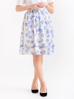 花柄ボーダーフレアースカート