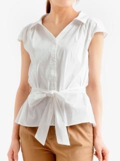 ベルト付きVネックフレンチシャツ