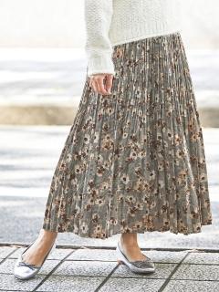 フラワーグレンチェックロングプリーツスカート