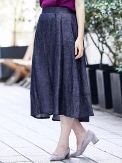 シャンブレーフレアースカート