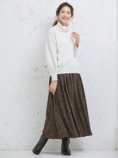 レオパード柄ロングスカート