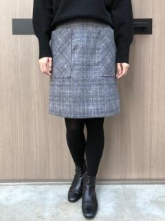 チェックサイドポケット台形スカート