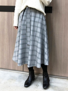 ウエストリボンチェックフレアースカート
