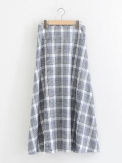 チェックロングフレアースカート
