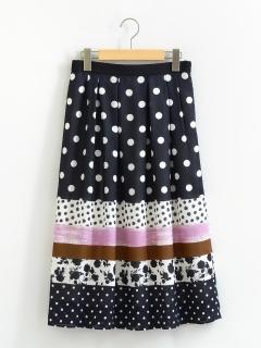 ドットMIXパネルプリントスカート