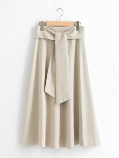サッシュベルト付きフレアースカート