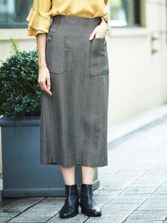 ヘリンボーンサイドポケットタイトスカート