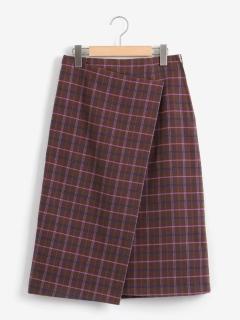 ミックスカラーチェックラップ風スカート
