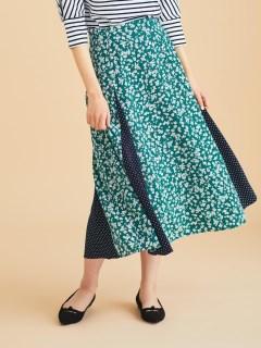 eclat小花柄×ドット切替スカート