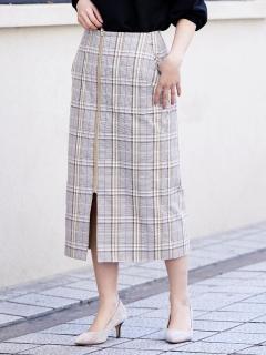 フロントジップチェックタイトスカート