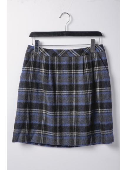 Rope' Picnic (ロペピクニック) シャギーチェック柄スカート ブルー