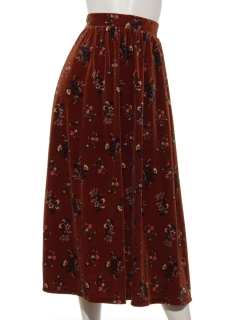 ベロアフラワープリントマキシスカート