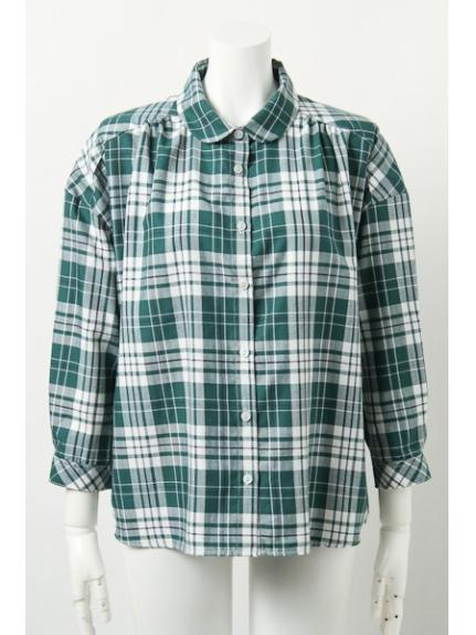 ViS (ビス) チェックラウンドカラーシャツ グリーン