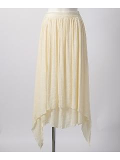 裾アシメギャザーロングスカート
