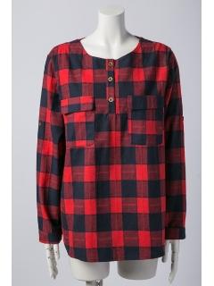 胸ポケット付きチェック柄シャツ