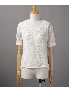 縦波編み半袖ニットプルオーバー