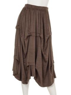 横タックアシメギャザースカート